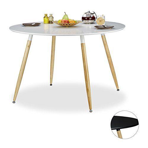 Relaxdays Runder Esstisch ARVID, groß, Holz, HxD: 75 x 120 cm, Beine natur, Gummi Untersetzer, schwarz und weiß