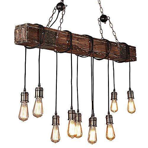 Retro Pendelleuchten Vintage Pendellampe Hängelampe 10-Flammig E27 Edison Lampenfassung DIY Loft retro Industrie-Stil Azanaz Kronleuchter