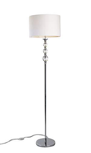 STEHLEUCHTE PANDORA weiß/zeitloses Design/eleganter Stoffschirm/Stehlampe Standlampe Standleuchte