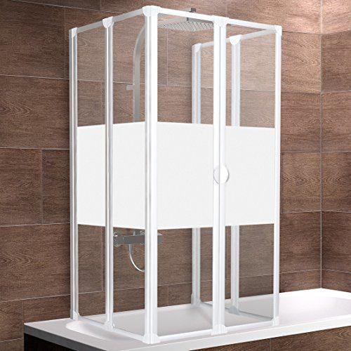 Schulte Duschabtrennung München, Montage zum Kleben oder Bohren, 140 cm hoch, 2x3-teilig faltbar, verschiedene Gläser und Profilfarben, geschlossene Duschkabine für Badewanne