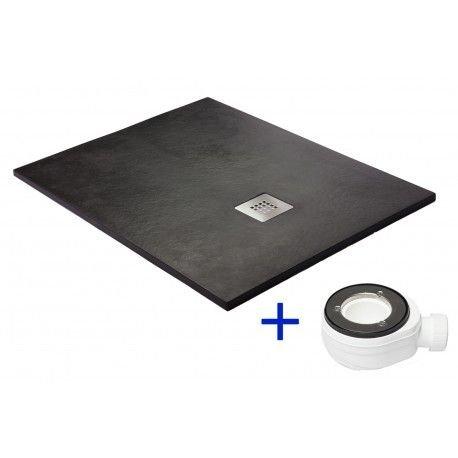 Silex-Duschwanne, extra flach schwarz graphit RAL 9011