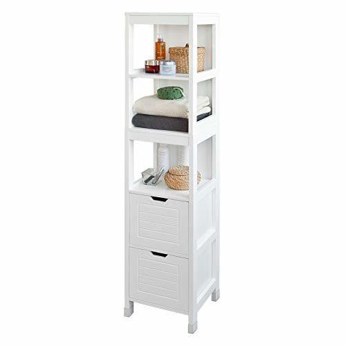 SoBuy® FRG126-W Hochschrank für Bad Badregal mit Fußpolster Badezimmer Badmöbel weiß