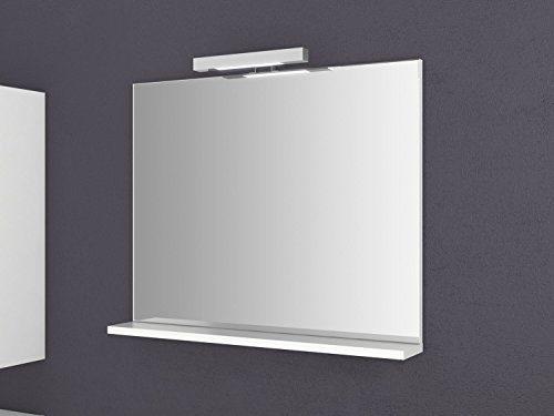 Spiegel mit Ablage Girona 60 und 80 cm breit Beleuchtung Wandspiegel Badspiegel weiß Sieper