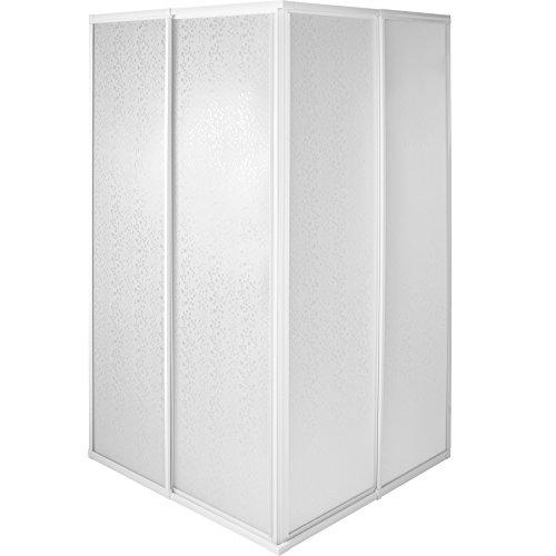 TecTake Duschkabine Duschabtrennung Eckeinstieg | Rostfreier Aluminiumrahmen | 2 Schiebetüren aus Kunststoff - verschiedene Größen