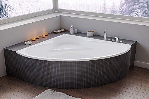 The North Bath FLOWER Asymmetrische Eckwanne Eckbadewanne 120x120 cm/130x130 cm/140x140 cm Wanne mit/ohne Wannenträger Ablaufgarniur Silikon und Füßen