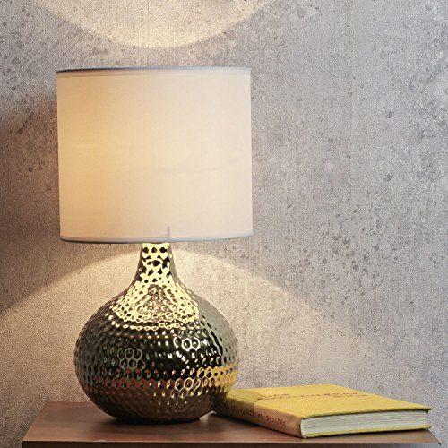 Tischleuchte Nachttischlampe/gold und weiß / 1x E14 / Tischlampe Wohnzimmer/Nachttischleuchte Stoffschirm/Flur Schlafzimmer/Beleuchtung innen