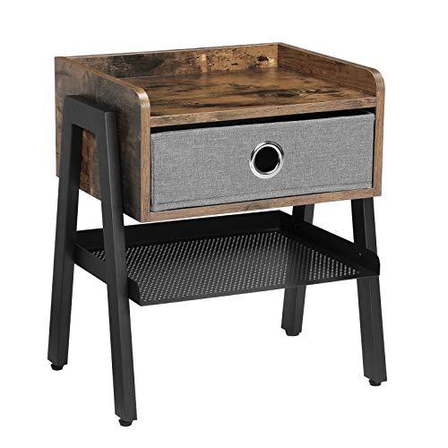 VASAGLE Nachttisch, Beistelltisch, Kaffeetisch, Ablage mit herausnehmbarer Stoffschublade, Gitterablage, Metallrahmen, für Wohnzimmer, Schlafzimmer, Vintage LET64X
