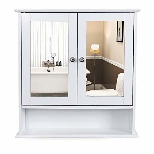 VASAGLE Spiegelschrank, Badezimmerschrank, Wandschrank Verstellbarem Einlegeboden, Medizinschrank, Badschrank aus Holz, Weiß