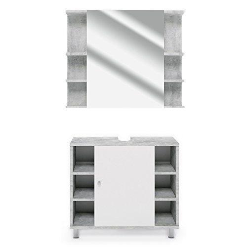 VICCO Badmöbel Set Badezimmermöbel FYNN Spiegel + Unterschrank + Midischrank + Hochschrank