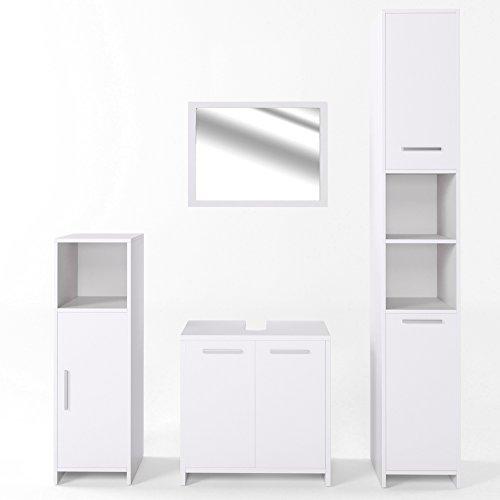 VICCO Badmöbel Set KIKO Weiß Hochglanz / Grau Beton - Badspiegel + Unterschrank + Bad Hochschrank + Bad Midischrank
