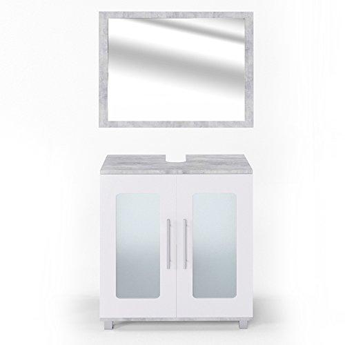 VICCO Badmöbel Set RAYK Weiß Grau Beton - Spiegel + Waschbeckenunterschrank + Hochschrank + Midischrank