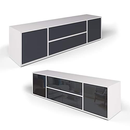 Vicco Lowboard Grande Weiß Anthrazit - Fernsehschrank Sideboard TV Fernsehtisch/Hochglanz Fronten oder Soft Touch/Inkl Push to Open Funktion