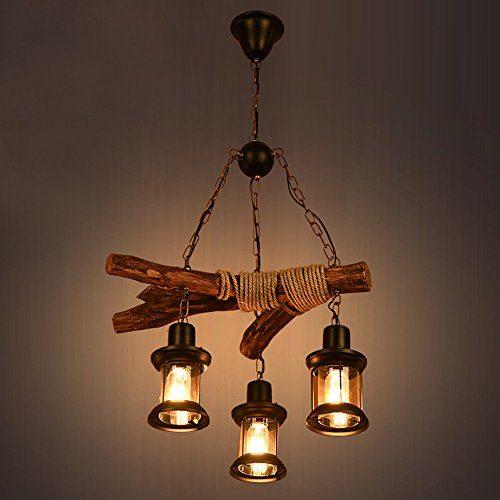 Vintage Kronleuchter Retro Industrial Pendelleuchte Hängeleuchte E27 Holz Metall Pendellampe für Wohnzimmer Esszimmer Restaurant Keller Cafe Bar