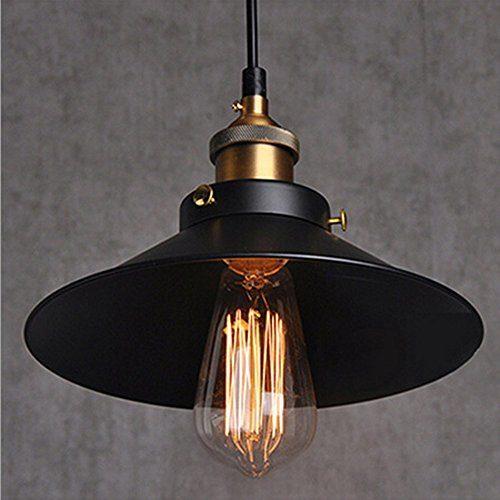 Vintage Retro Edison Loft Pendelleuchte Lampenschirm Retro Industrielle Deckenleuchte Lampenschirm Lackiertem Eisen Regenschirm Lampenschirm Land Art Lampe