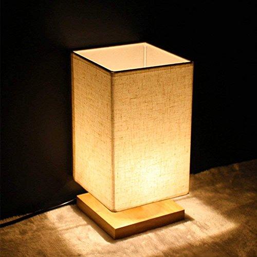 W-LITE Tischlampe aus Holz, Nachttischlampe Vintage, Stehlampe Modern auf Tisch, E27-Fassung & EU-Stecker Warmweiß für Wohnzimmer, Kinderzimmer, Schlafzimmer, Esszimmer