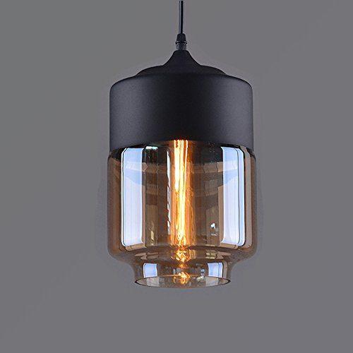 Weare Home Retro-Zylinder Durchsichtiger Glas-Lampenschirm Pendelleuchten