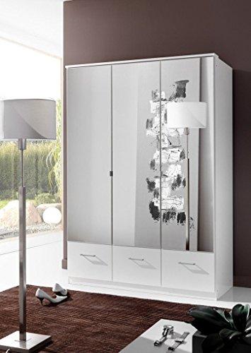 Wimex Germanica Bild, 3 Türen, Spiegel, Kleiderschrank mit Schubladen, Weiß