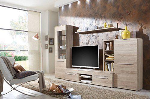 Wohnwand Wohnzimmerschrank Anbauwand TV-Element Cannes in Eiche Sonoma - Made in Germany