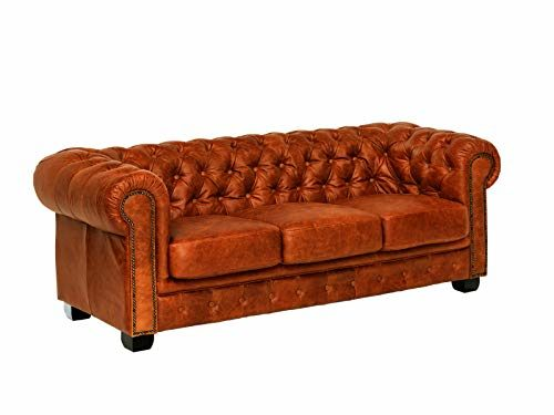 Woodkings® Chesterfield Sofa 3-Sitzer braun Cracker Echtleder Couch Bürosofa Polstermöbel 3 Sitzer antik Designsofa Federkern unikat Herrenzimmer englisches Leder Stilsofa