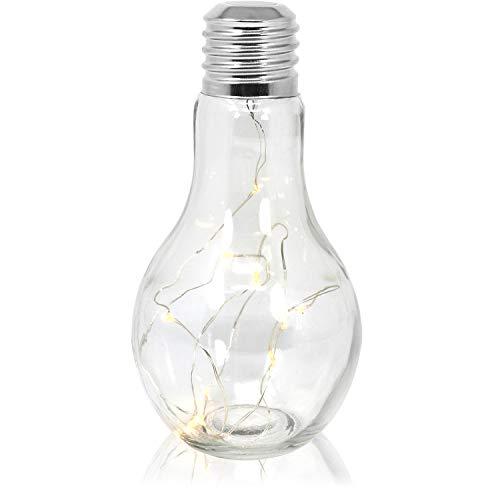 com-four® Deko Glas-Glühbirne mit LEDs