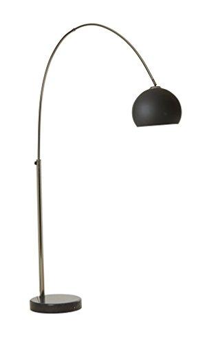 lifestyle4living 1-FLG. Stehlampe, Bogenlampe, Stehleuchte, Standleuchte, Standlampe, Bodenlampe, Lampe, Chrom, Marmor schwarz, Glasschirm schwarz, ohne Leuchtmittel