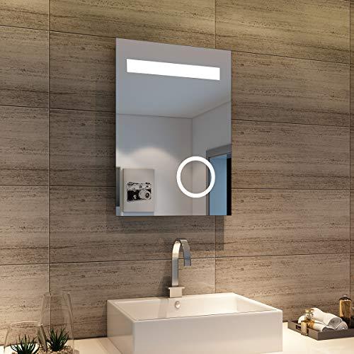 sunnyshowers Badspiegel LED Spiegel (Eckig) mit LED Beleuchtung Wandspiegel Badzimmerspiegel kaltweiß IP44 energiesparend