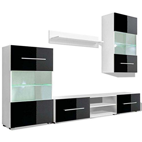 vidaXL 5tlg. Hochglanz Wohnwand Mediawand TV-Schrankwand mit LED Schwarz/Weiß