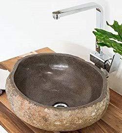 wohnfreuden Naturstein - Waschbecken 40 cm - rund oval grau Steinwaschbecken Stein Aufsatzwaschbecken Granit Bad Gäste WC