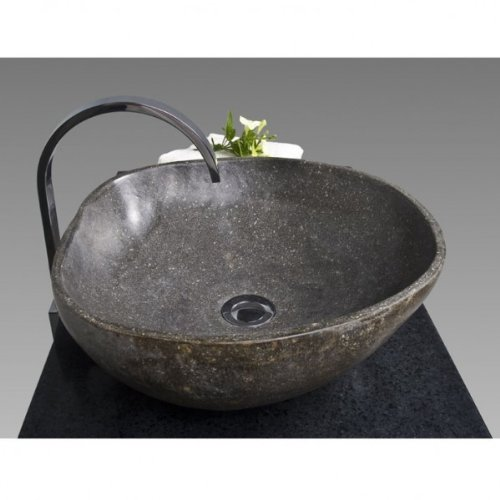 wohnfreuden Naturstein Waschbecken Waschbecken aus Stein in 40 cm ❘ Steinwaschbecken für ihr Gäste WC Bad