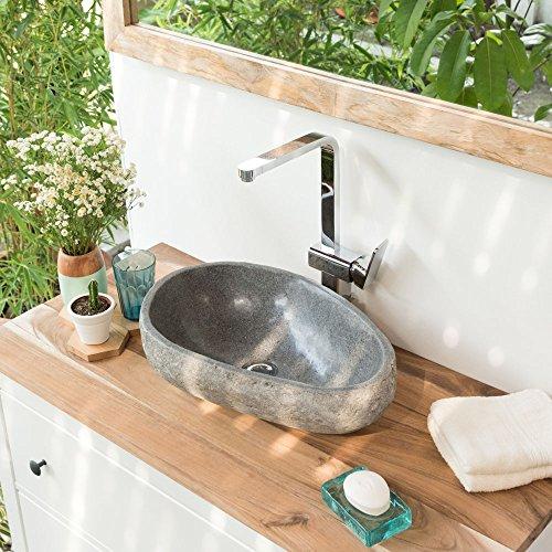 wohnfreuden Steinwaschbecken 40 cm oval - rund grau Naturstein Waschbecken Stein Aufsatzwaschbecken Granit Bad Gäste WC