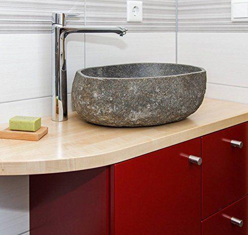 wohnfreuden Waschbecken - Naturstein Steinwaschbecken 40 cm aussen natur aus Flussstein für Waschtisch mit Unterschrank