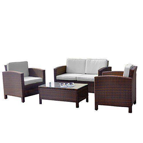 13tlg. Deluxe Lounge Set Gruppe Garnitur Gartenmöbel Loungemöbel Polyrattan Sitzgruppe - handgeflochten - braun-mix von XINRO®