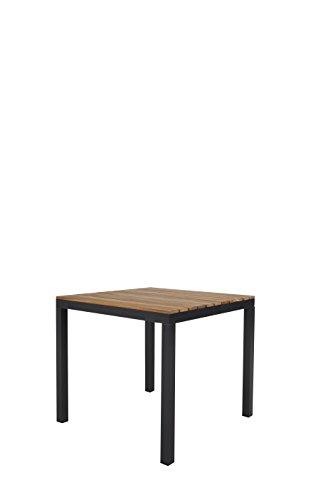 Ambientehome 50033 Aluminium Gartentisch mit Holzplatte aus Akazie Tisch 85x85 cm