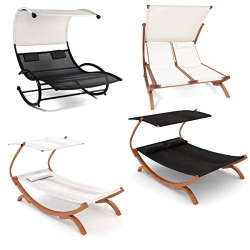 Ampel 24 Lounge Gartenmöbel weiß oder schwarz, Relax Sonnenliege mit Dach, Holz Gestell, Gartenliege wetterfest