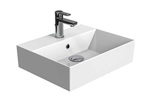 Aqua Bagno KS.50 Design Waschbecken/Aufsatzbecken 50x42cm Keramik weiß Waschtisch Waschschale