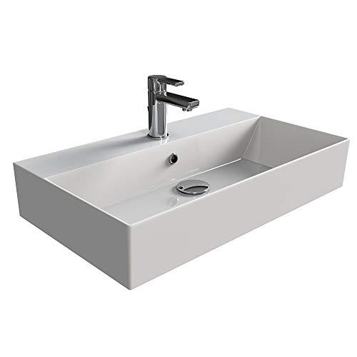 Aqua Bagno KS.70 Design Waschbecken/Aufsatzbecken 70x42cm Keramik weiß Waschtisch Waschschale