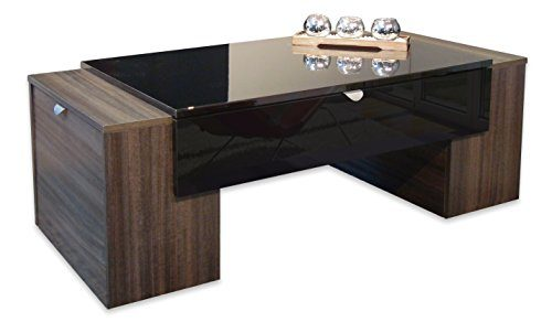Berlioz Creations Lucky Couchtisch Holz Schwarz Hochglanz und Pflaumenblüte 123x 42x 55cm