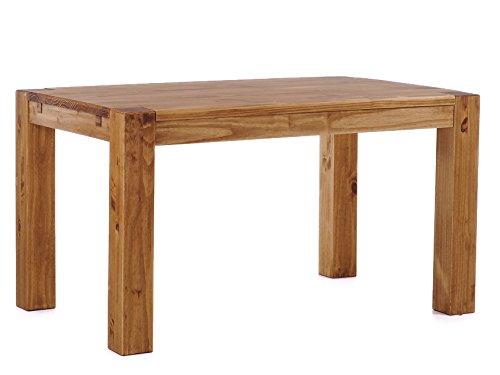 Brasilmöbel® Esstisch 140x90x78 Rio Kanto - Brasil Pinie Massivholz - Größe & Farbe wählbar - Esszimmertisch Küchentisch Holztisch Echtholz - vorgerichtet für Ansteckplatten - Tisch