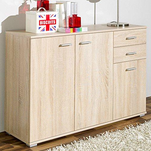 CSSchmal Sideboard mit 3 Türen 2 Schubladen Eiche Highboard Kommode Standschrank Mehrzweckschrank Anrichte Typ 100