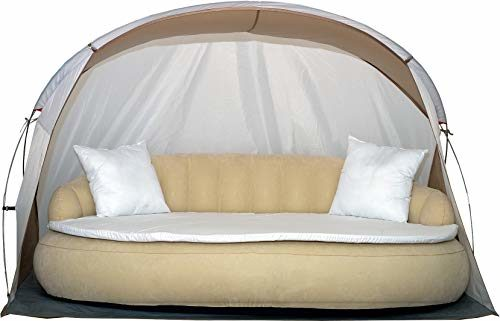 Dekovita Air-Lounge 220x130cm aufblasbare Sonneninsel inkl. Auflage Kissen Sonnendach 2-3 Personen Liege bis 200KG Beige