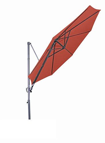"""Derby Doppler Hochwertiger Ampelschirm Ravenna 300"""" in terrakotta, neigbar, 360 Grad drehbar, UV-Schutz 50 Plus, inklusive Plattenständer"""