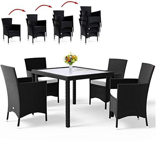 Deuba PolyRattan Sitzgruppe Gartenmöbel Lounge Sitzgarnitur Essgruppe stapelbare Stühle wetterfestes Polyrattan 7cm Sitzauflagen MODELLAUSWAHL