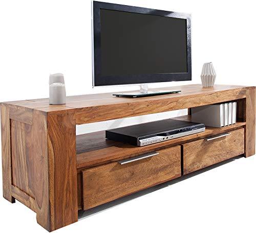 DuNord Design massives TV Board Lowboard Sheesham Holz Jakarta Massivholz Fernsehtisch Natur 135cm