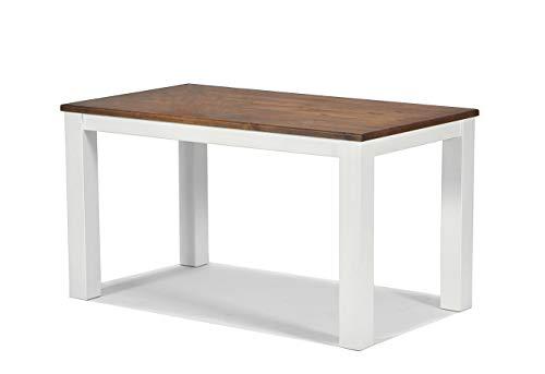 Esstisch ,,Rio Landhaus,, 140x80cm Pinie Massivholz, Tischplatte leicht gebürstet, Farbton: Weiss / Kolonial Zimt, Optional erhältlich: passende Bänke und Stühle