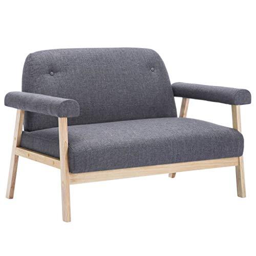 Festnight- 2-Sitzer-Sofa Retro Couch Sofagarnitur Polstersofa Wohnzimmersofa Holzrahmen 115 x 69 x 75 cm Stoff Dunkelgrau