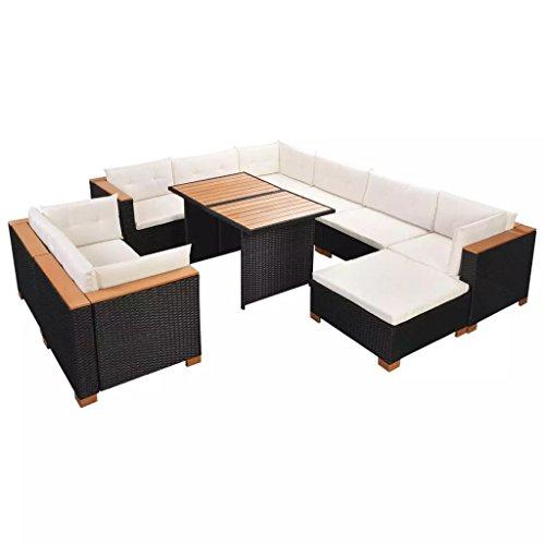 Festnight Polyrattan Lounge Set Loungemöbel Loungeset Loungegruppe 32-TLG. Schwarz