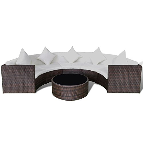Festnight Polyrattan Lounge Set Loungemöbel Loungeset Loungegruppe Braun Halbrund