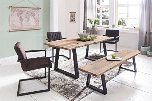 FineBuy Esszimmer-Tisch Baumstamm Massivholz Akazie | Robuster Naturholz Esstisch mit Unebenheiten | Echtholz Küchentisch mit Baumkante | Landhaus Holztisch mit 2 Metallbeinen