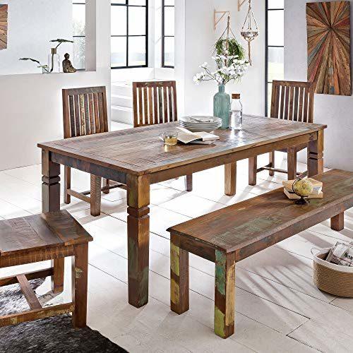 FineBuy Esszimmertisch Delhi Mango Shabby Chic Massiv-Holz | Design Landhaus Esstisch Bootsholz | Tisch für Esszimmer rechteckig | 6-8 Personen