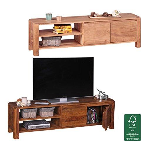 FineBuy Lowboard Massivholz Kommode 145 cm TV-Board Ablage-Fach Landhaus-Stil Unterschrank 41 cm hoch TV-Möbel